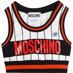 Moschino Cropped Top ($230) ❤ liked on Polyvore featuring tops, shirts, crop top, shirt top, logo shirts, slim fit white shirt, shirt crop top and white crop top