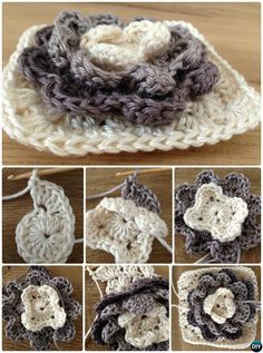 Crochet 3D Water Lily Granny Square Free Pattern