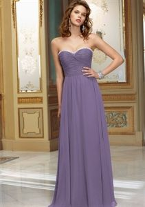 Purple Chiffon Bridesmaid Dress, Floor Length Chiffon Bridesmaid Dress   $145.00