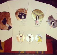 beautiful metallic ladies #art #etsyshop #etsy #goldleafimitation #goldleaf #silverleaf #silverleafimitation #copperleaf #illustration #gold #lady #artofgold #metallicleaf #ink #originalart #hornyladies