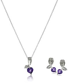 10k White Gold Gemstone and Diamond Accent Leaf Heart Earrings and Pendant Necklace Jewelry Set, 18' *** A special jewelry just for you to view. See it now! : Jewelry Trends