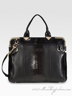 Designer Handbags for Women | Luxurious python structured in a boxy silhouette with goldtone ...