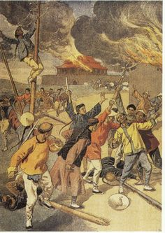 By May 1900, the Boxer Rebellion had come out of the countryside and was being waged in the capital of Peking (now Beijing). In this painting, we see the boxers cutting the lines of communication, setting fire to the city, killing foreigners an destroying anything foreign.
