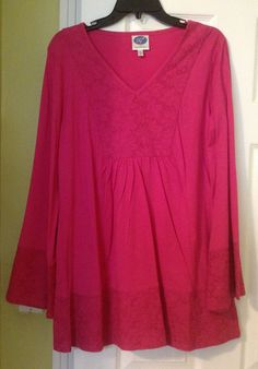 DG2 Diane Gilman Bell Sleeve Eyelet Caftan Tunic Top Cotton  Modal Sz LARGE #DG2 #Tunic #Any