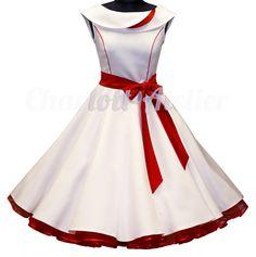 50er Petticoatkleid Weiß Rot Brautkleid 50er Kleid