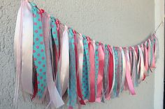 CANDY GARLAND Turquoise & Pink Garland Party Banner Wedding Garland, Ribbon Wedding Decor, Baby shower, Nursery Room Decor Polka Dot bunting...
