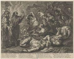 Anonymous | Mozes en de koperen slang, Anonymous, Schelte Adamsz. Bolswert, Peter Paul Rubens, 1639 - 1677 | Links staan Aäron en Mozes naast de op een staak beverstigde koperen slang. Mannen, vrouwen en kinderen, die door giftige slangen worden gebeten kijken naar de koperen slang om in leven te blijven. Onder de voorstelling de titel in het Latijn, een vierregelig vers in het Nederlands, Frans, Engels en Duits en een verwijzing naar de Bijbeltekst in Num. 21.