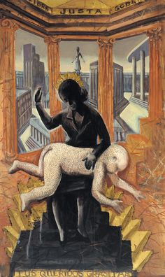DANIEL SANTORO  Evita castiga al niño gorila  Acrílico y dorado a la hoja  180 x 90 cm  2001 Llamas, Painting, Contemporary Artists, Argentina, Beautiful Pictures, Art, Paintings, Blade, Painting Art