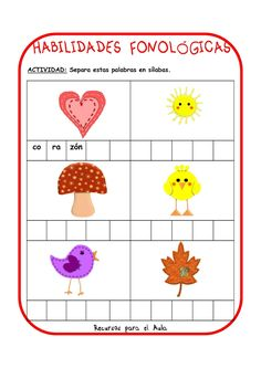 Centro Deusto de Psicopedagogía y Logopedia: CONCIENCIA FONOLÓGICA Pre K Activities, Phonological Awareness, Word Work, Second Grade, Literacy, Kindergarten, Homeschool, Therapy, Language