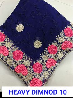 Designer Net Embroidered Bollywood Sarees from Ubig Fashion Navy Blue Color, Off White Color, Hand Embroidery, Embroidery Designs, Lehenga Online, Sari Dress, Bollywood Party, Wedding Sari, Peacock Print