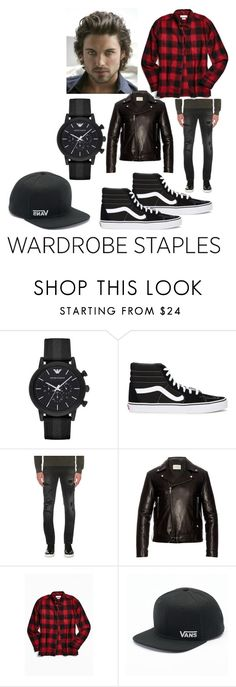 """Sexy In Plaid"" by rac-ren on Polyvore featuring Emporio Armani, Vans, Replay, Gucci, Urban Outfitters, men's fashion, menswear, plaid and WardrobeStaples"
