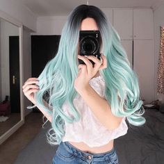 Lace Front wig forest green hair neon green lace wig blonde hair turni – 37 Unique Mint Pastel Hair Color Ideas for Women in 2019 Lace F. Cute Hair Colors, Hair Dye Colors, Ombre Hair Color, Cool Hair Color, Pastel Hair Colors, Green Hair Colors, Hair Color For Women, Hair Colour, Light Blue Hair