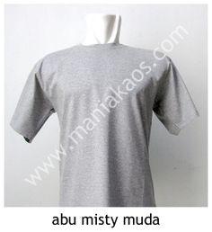 Kaos O-neck Lengan Pendek Abu Misty Muda. Tersedia juga dengan model lengan panjang untuk warna abu misty muda.