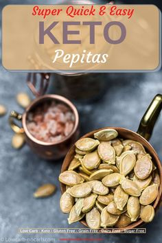 Missing easy Keto Snack? Super simple Oven Roasted Pumpkin Seeds Recipe is a perfect quick and easy crispy low carb snack for all. Satisfy your taste buds whenever you need to snack on something. Oven Roasted Pumpkin Seeds, Raw Pumpkin Seeds, Roast Pumpkin, Pumpkin Soup, Gourmet Recipes, Appetizer Recipes, Keto Recipes, Appetizers, Pumpkin Recipes Keto