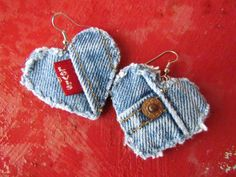 Earring - Heart-Shaped, Recycled Levi's Denim - Upcycled - The Classic. $12.00, via Etsy.