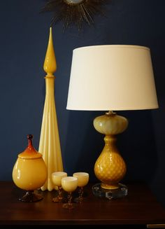 50% OFF ALL ORDERS Mid-century Italian glass vases and lamps in stock at www.deedee914.com Cased italian Empoli glass.