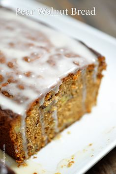 Pear Walnut Bread Recipe from addapinch.com~ Pear Walnut Bread Recipe~  Ingredients: 3 cups all-purpose flour, ½ teaspoon baking powder, 1 teaspoon baking soda, 1 teaspoon salt, 2 teaspoons cinnamon, ¼ teaspoon ginger, ¾ cups vegetable oil, 2 cups granulated sugar, 3 eggs, 2 pears, peeled and diced, 2 teaspoons vanilla, 1½ cups chopped walnuts. Serves 12. Author: Robyn Stone | Add a Pinch.