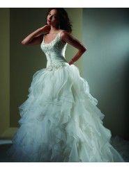 Tulle Sleeveless Scoop Neckline tank Bodice A-line Wedding Dress