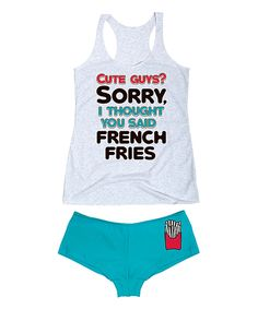 Look at this Heather White 'Cute Guys? French Fries' Tank & Turquoise Hipster on #zulily today!