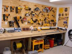Get your garage shop in shape with garage organization and shelving. They come with garage tool storage, shelves and cabinets. Garage storage racks will give you enough space for your big items and keep them out of the way. Garage Workshop Organization, Garage Tool Storage, Workshop Storage, Garage Tools, Home Workshop, Garage Shop, Organization Ideas, Garage Workbench, Storage Ideas