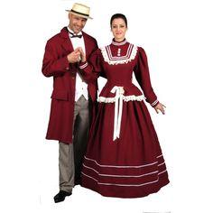Belle Epoque Homme code produit : 946-045 4 pièces : Veste, Pantalon, Gilet et Canotier. Taille(s) : 54 et  Belle Epoque Femme code produit : 946-041 et 946-042 2 pièces : Robe et Chapeau. Taille(s) : 38 et 42.