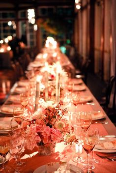 Like the pink pretty look of this. Have been thinking of having long tables.