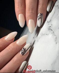 Cute Designs For Oval Nails To Rock Anywhere ~ Hair And Nails, My Nails, Nail Manicure, Nail Polish, Cute Nails, Pretty Nails, Nagellack Design, Latest Nail Art, Oval Nails
