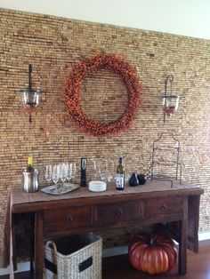 rolha de vinho na decoração parede
