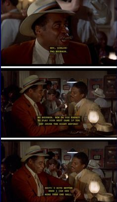 The Bingo Long Traveling All-Stars and Motor Kings (1976) Part II…Leon Carter (James Earl Jones) ordering bourbon with teammate Bingo Long (Billy Dee Williams) the night before the big game