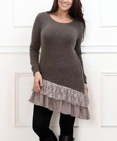 Look what I found on #zulily! Charcoal & Taupe Ruffle-Hem Dress - Plus #zulilyfinds