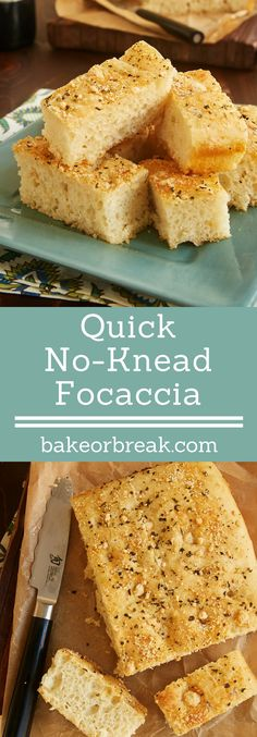 With just 1 minute of mixing, 1 hour of rising, and ZERO kneading, Quick No-Knead Focaccia is the quickest, easiest yeast bread you could want. Customize the flavor with your favorite toppings! - Bake or Break ~ http://www.bakeorbreak.com