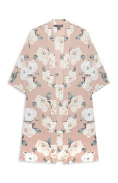 Primark - Beige Floral Print Kimono Jacket