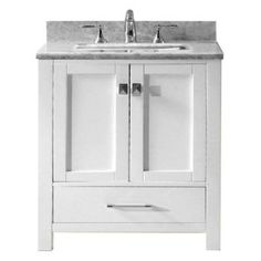 RunFine RFVA0069W Virteous Vanity Top One Drawer and Cabinet with ...
