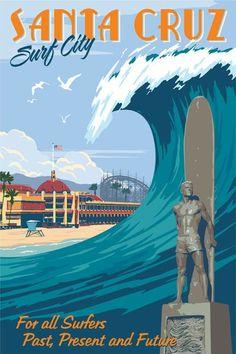 Santa Cruz vintage travel poster by Steve Thomas Photo Vintage, Vintage Surf, Vintage Art Prints, Vintage Travel Posters, Vintage Advertisements, Vintage Ads, Steve Thomas, Retro, Travel Ads