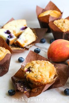 Blueberry Breakfast, Blueberry Bread, Blueberry Recipes, Breakfast Cookies, Breakfast Recipes, Peach Muffins, Blue Berry Muffins, Peach Muffin Recipes, Tasty Bread Recipe