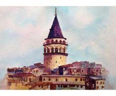 Bonvagon - Sanat - Galata Kulesi Watercolor Sketch, Watercolor Paintings, Turkey Travel, Architects, Istanbul, Owl, Wall Decor, Drawing, Modern