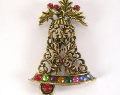 Vintage Gold Colorful Rhinestone Christmas Jewelry