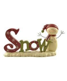 Another great find on #zulily! 'Snow' Snowman Figurine #zulilyfinds