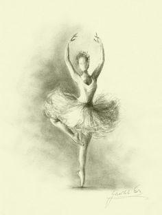 Ballet Drawings - Limited Edition 8 x 11 print of original pencil by EwaGawlik