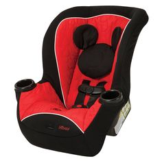 Treat your little mouseketeer to the cutest seat in the car with the Mickey Mouse convertible car seat. Featuring vibrant red fabric with black accents and a signature Mickey Mouse silhouette head rest, your little one will be on the go and ready for adventure no matter where the journey takes you.