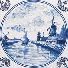 Delft Tiles, Blue Tiles, Boat Painting, China Painting, Blue Pottery, Blue And White China, Blue Plates, Pillow Forms, Tile Art