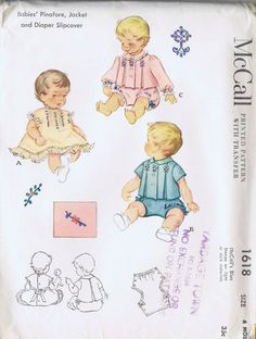 """SIZE 6 MONTHS BREAST 19 WAIST 19"""" Vintage McCall's Pattern Pattern Number 1618 Copyright: 1951 Vintage 50s Babies Pinafore Jacket and Diaper Cover and Transfer Pattern"""