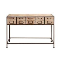 Expressions - This Concole Table Features Unique Distressed Wood & Dark Metal with 5 Post Office Style Drawers