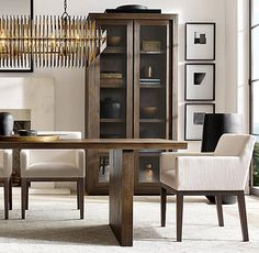 Solid Wood Furniture, Modern Furniture, Restauration Hardware, Oak Dining Table, Dining Rooms, Fabric Armchairs, Furniture Vanity, Home Hardware, Mid Century Design