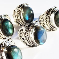 Bewitch Me Phase II - Fiery Labradorite & Sterling Silver Amulet Ring – Druzy Dreams