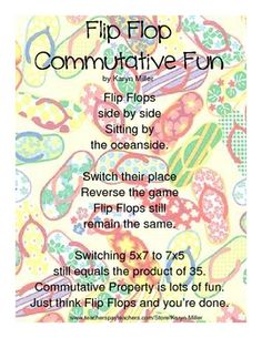 Flip Flop Commutative Fun Poem FREEBIE - Poem I wrote to give students something fun to think about to help them remember the commutative property ...