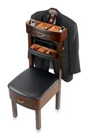 VS 002 Chair Valet Stand (in Australia) Mahogany By Hand's range of lightweight clothes valet stands incorporate features including:       tick  Jewellery tray       tick  Small shelf       tick  Drawers       tick  Pants rack       tick  Jacket hanger       tick  Shoe rack  The stand incorporates intuitive design: the top of the clothes valet carries a coat, jacket, and/or shirt, while the trouser hanger sits in front, within easy reach.