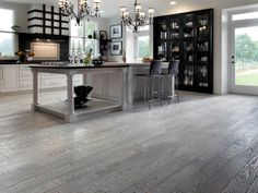Awesome brushed plank red oak floors from Preverco.com.