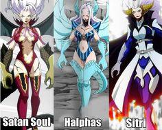 Mirajane sous ses trois forme:Satan Soule, Halphas et Sitri