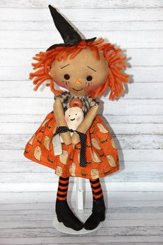 Halloween Boo Witch Annie  Primitive Raggedy by HeartstringAnnie, $39.00